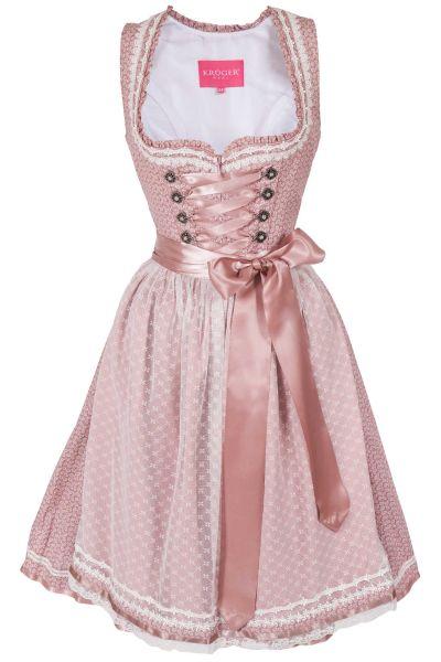 Mini Dirndl in rosa und weiß mit Netzschürze