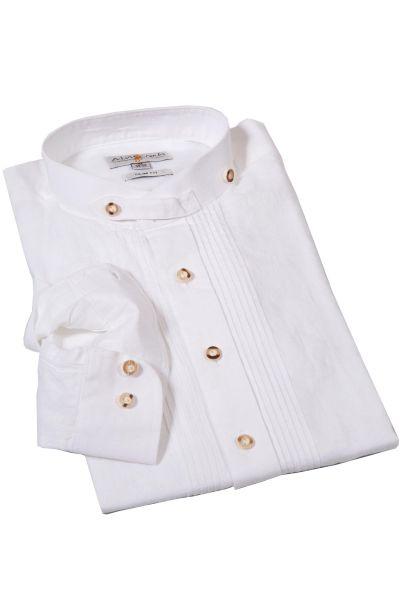 Trachtenhemd aus Leinen in weiß mit Stehkragen