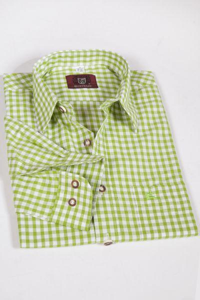 Trachten hemd kariert hellgrün weiß mittel 1