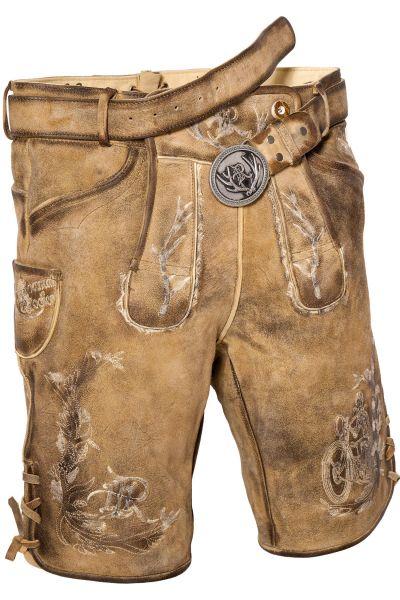 Kurze Lederhose Biker in braun antik mit Gürtel
