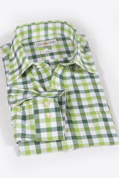 Trachtenhemd karo grün kariert apfelgrün 1