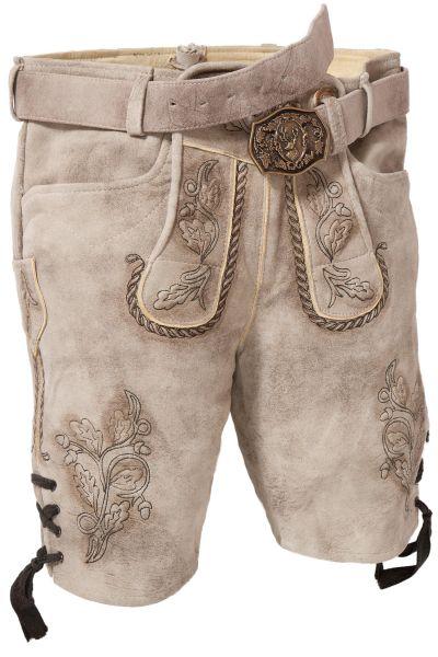 Kurze Lederhose Milo in morchel mit Textilband