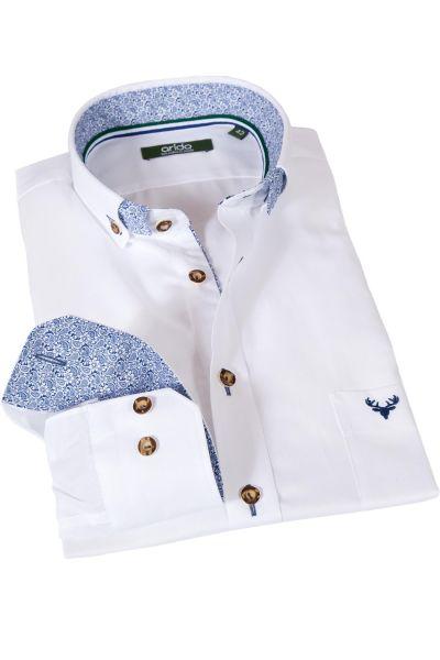 Trachtenhemd von arido in weiß mit blauem Paisley