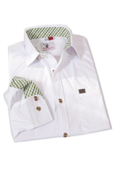 Herren Trachtenhemd Kessen in weiß mit grün