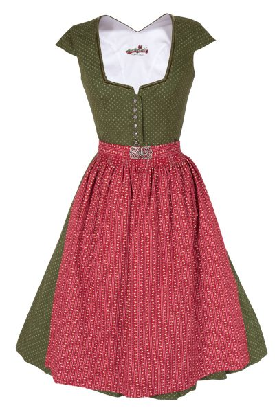 Midi Dirndl Rosalia in moosgrün und rot mit Ärmel