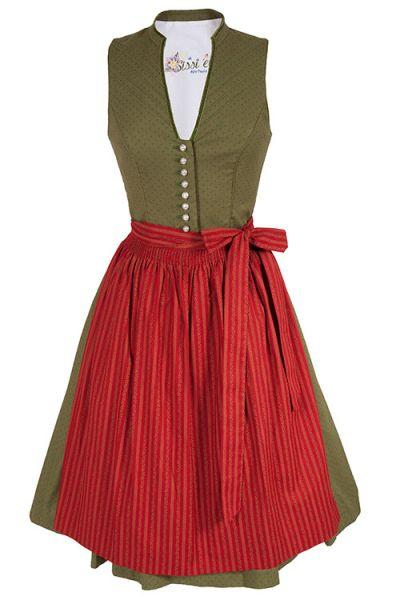 Traditionelles Midi Dirndl Ulrike von sissi ey! in moosgrün und rot