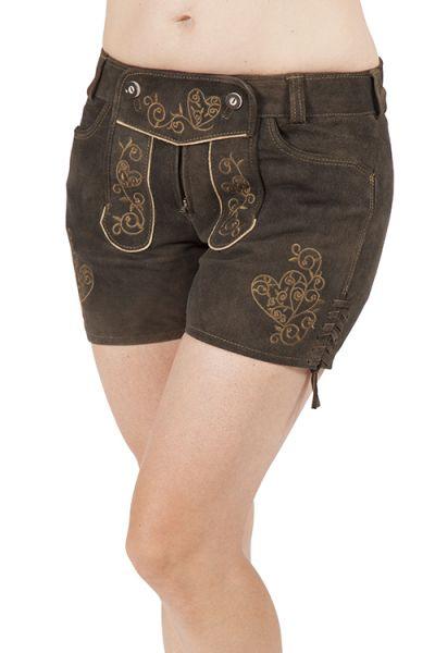 Damen Lederhose kurz Flacht in aschbraun und oliv