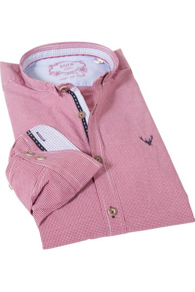 Trachtenhemd von pure in Vichykaro rot