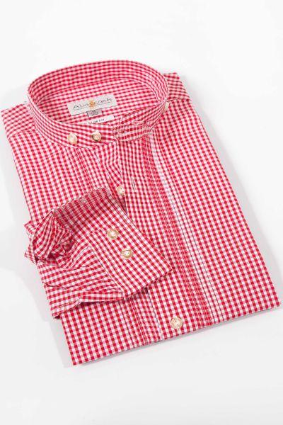 Trachtenhemd mit Vichykaro in rot mit Stehkragen