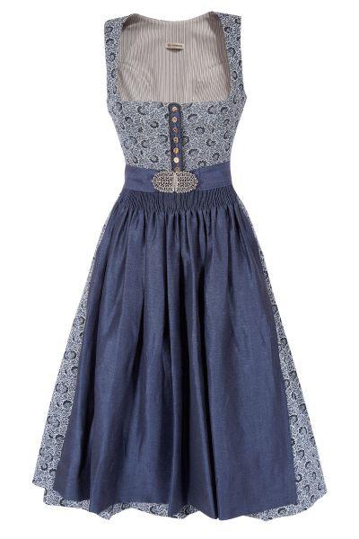 Gottseidank Dirndl in blau mit Blumen im Vintage Design