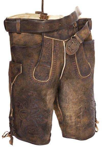 Kurze Lederhose Bertolo in dunkelbraun antik used mit Gürtel