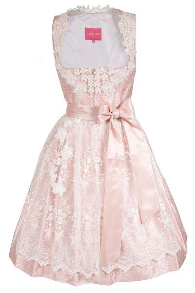 Mini Dirndl Caro von Krüger in rosa mit weißen Rosen