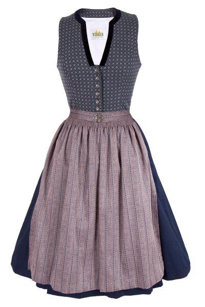 Midi Dirndl Celine in dunkelblau und rosa im Vintage Design
