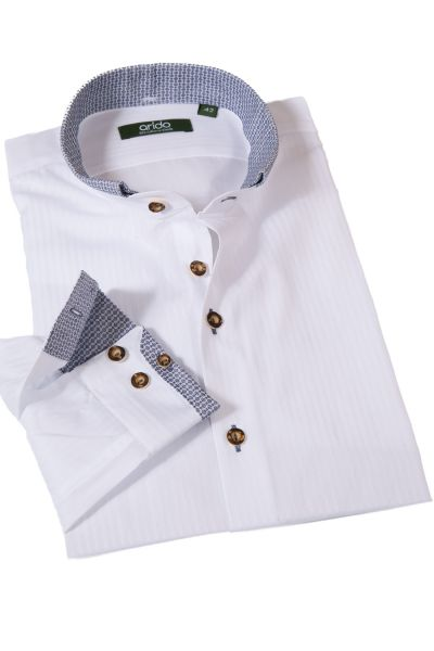 Arido Trachtenhemd in weiß mit blauen Details