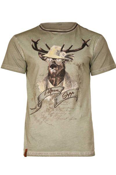 Trachten T-Shirt Benedikt in oliv für Herren