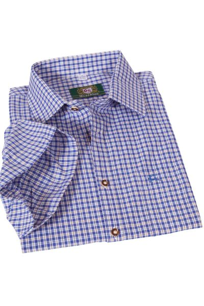 Trachtenhemd blau weiß kariert kurzärmelig