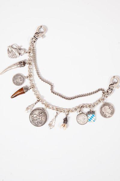 Herren Charivari in silber mit Münzen und Horn