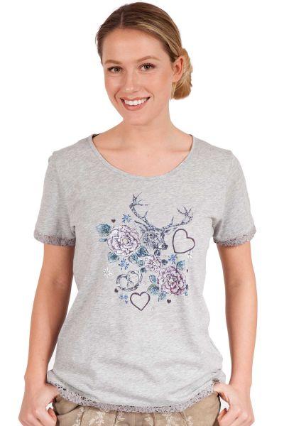Damen Trachten Shirt in hellgrau mit Spitze