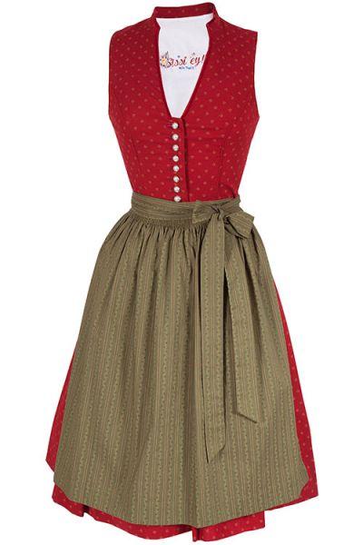 traditionelles Dirndl Ulrike in rot und moosgrün mit V-Ausschnitt