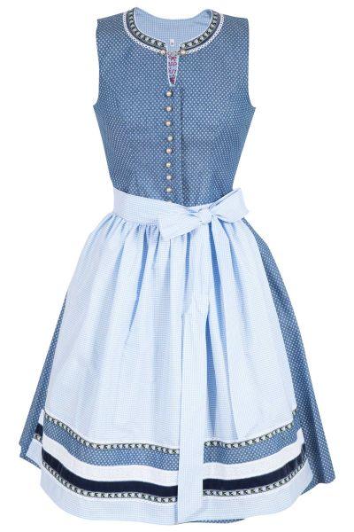 Mini Dirndl in jeansblau mit weißen Punkten und hellblau