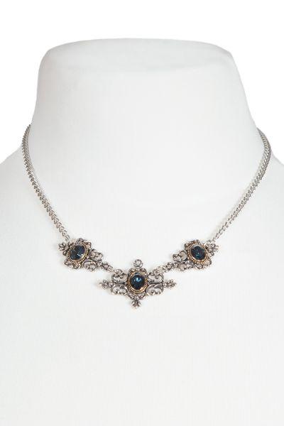 Trachtenkette in silber mit Ornamenten und blauem Stein