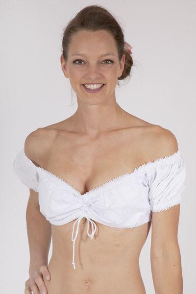 Dirnlbluse als Carmenbluse in weiß mit Zugband  1