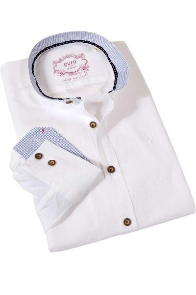 Herren Trachtenhemd in weiß und blau mit Stehkragen