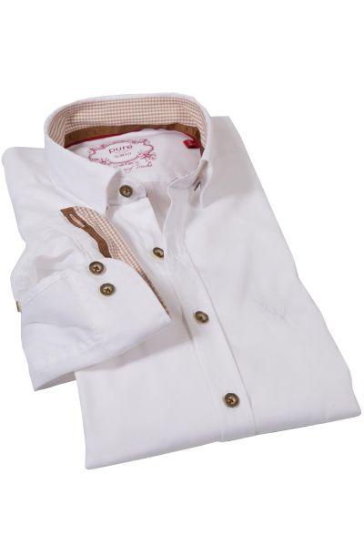 Trachtenhemd in weiß Slim Fit von pure