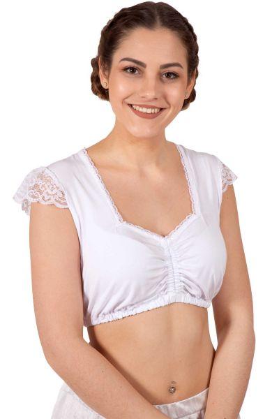 Dirndlbluse Nora aus Jersey in weiß
