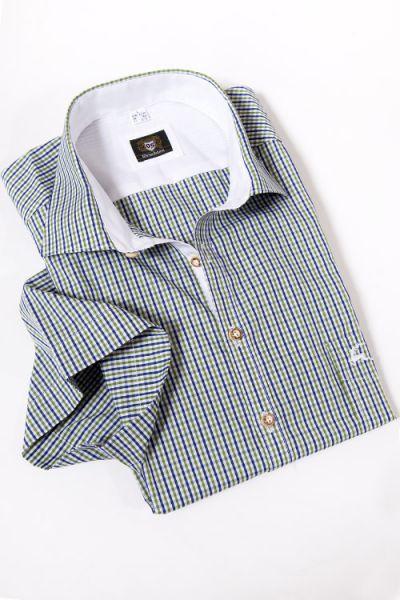 Trachtenhemd Kurzarm mit kleinen Karos in grün, weiß und blau