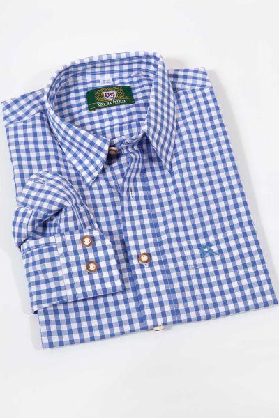 Herren Trachtenhemd in wasserblau kariert