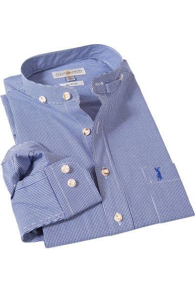 Herren Trachtenhemd Slim fit in blau weiß kariert