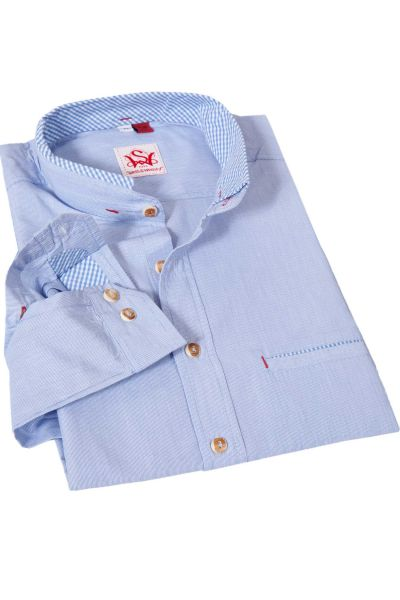 Trachtenhemd gestreift hellblau mit Stehkragen