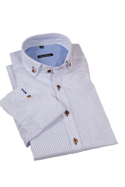 Trachtenhemd in weiß mit blauem Muster
