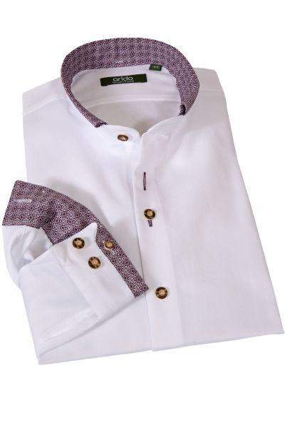 Edles Trachtenhemd in weiß mit weinrot von arido