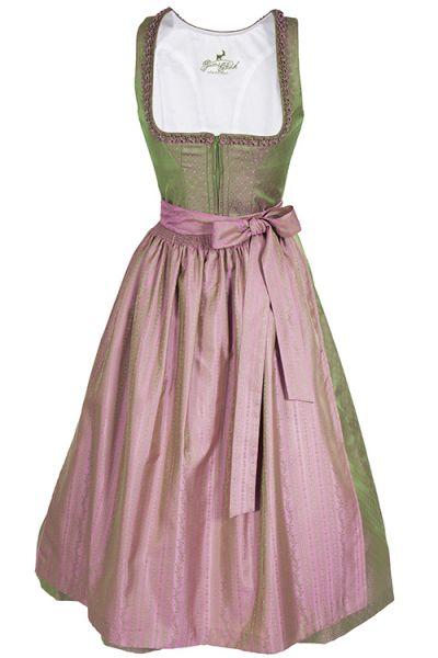 Langes Dirndl Dolly gamsbock grün und rosa 1