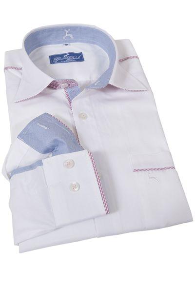 Trachtenhemd in weiß von Gamsbock mit Vichykaro in Ärmeln und Kragen