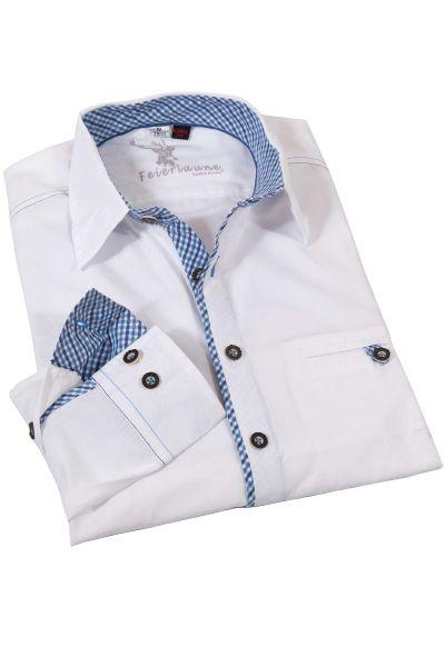 Weißes Trachtenhemd Golo mit blauen Details