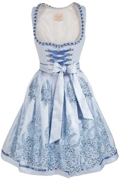Glamour Mini Dirndl in hellblau mit Spitzenschürze