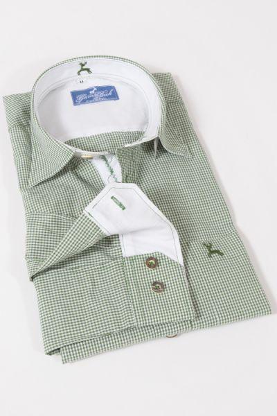 Trachtenhemd mit feinem Vichykaro in grün weiß von Gamsbock