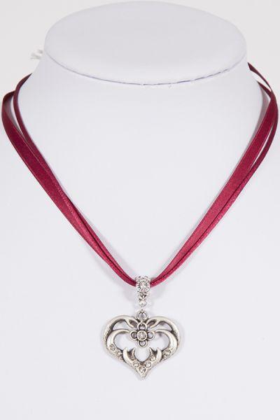 Trachtenkette an Satinband in bordeaux mit silbernem Herz