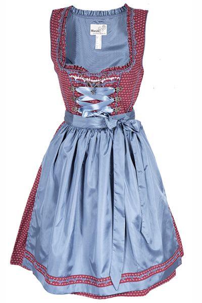 Mini Dirndl Evette in ziegelrot aus Baumwolle mit blauer Schürze
