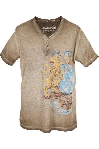 Herren Trachten T-Shirt in beige mit Bayern Löwe