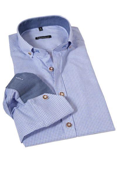 Trachtenhemd in weiß und blau mit Webmuster