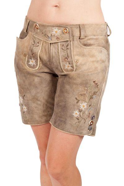 Kurze Lederhose Halma für Damen in hellbraun