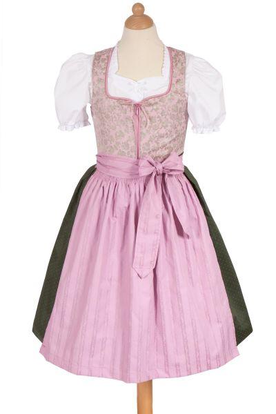 Kinder Dirndl Rosa in rosé und dunkelgrün