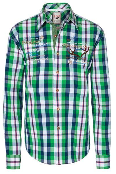 sportliches Trachtenhemd Herrenhemd grün blau 1