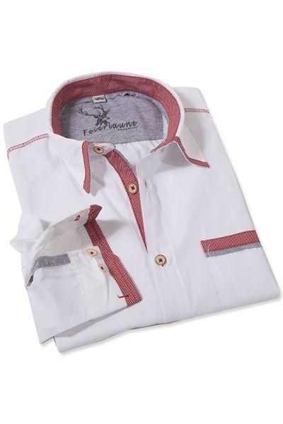 Trachtenhemd Elwin in weiß mit roten Details von Stockerpoint