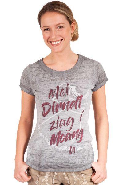Trachten T-Shirt in grau mit roter Schrift