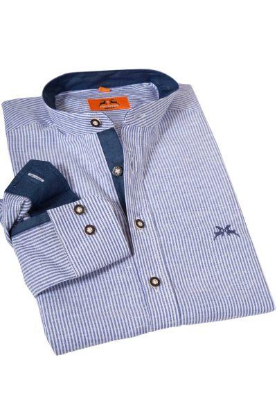 Trachtenhemd mit Streifen in weiß blau